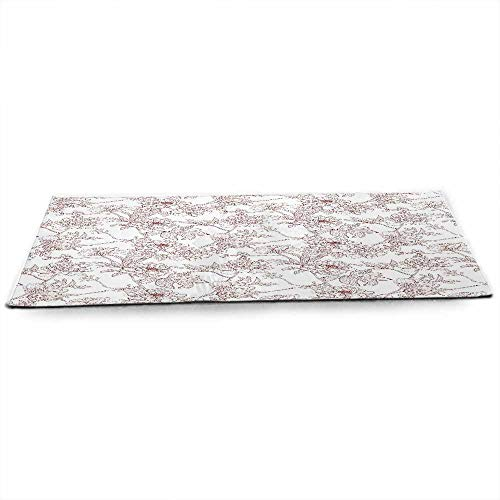 Vintage Eco Friendly Yoga Mat Rustic Sprigs with Wild Peonies Nature Inspired Garden Pattern Vintage Look for All Types of Yoga, Pilates & Floor Exercises W24 x L70 Burgundy White