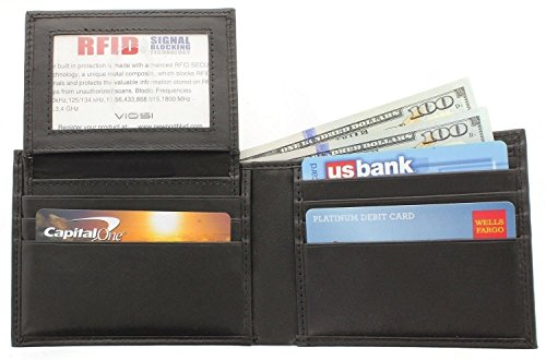 Viosi RFID Blocking Mens Leather Wallet Removable ID (Removable Id Billfold)