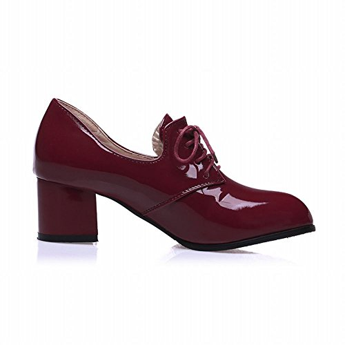 Heel Shoes Women's Oxford Chunky Latasa Red Shiny Wine a8ExqpdXw