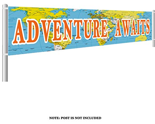 Colormoon Larger Adventure Awaits Banner, Bon Voyage, Travel Theme Banner, Birthday, Baby Shower, Graduation, Retirement Party Decorations (9.8 x 1.5 feet)