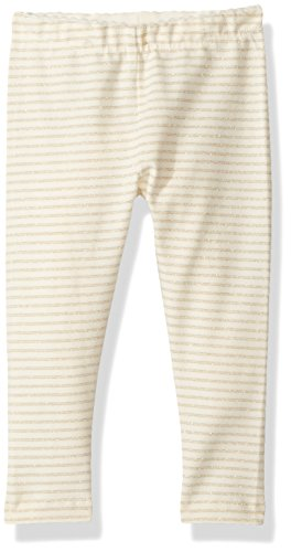 Tea Collection Girls' Sparkle Stripe Baby Leggings, Chalk, 6-9 ()