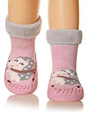 Baby Boy Girls Soft Warm Toddlers Moccasins Non-Skid Indoor Winter Cute Animal Slipper Shoes Socks