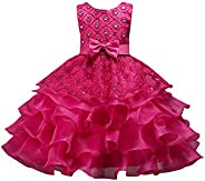 YMING Flower Sequin Princess Dress Sleeveless Tutu Tulle Birthday Dresses for Girls