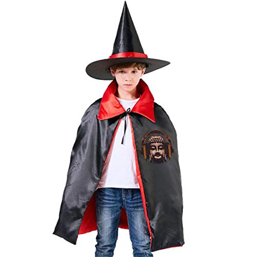 Wodehous Adonis Buddha Listening To Music Kids Halloween Costume Cape Witches Cloak Wizard Hat Set