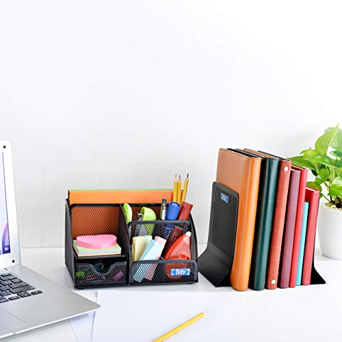 Mesh Desk Organizer with Bookends for Shelves 3 Piece Set 6 Compartments, Sliding Drawer Tray Home/Office, Dorm, Work Organization Accessories Desktop and Book Storage Black Photo #4