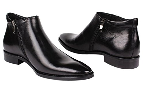 Men Boots Casual Black Zipper Leather Dress Chelsea Shoes Santimon Boots by Formal TwxZI5