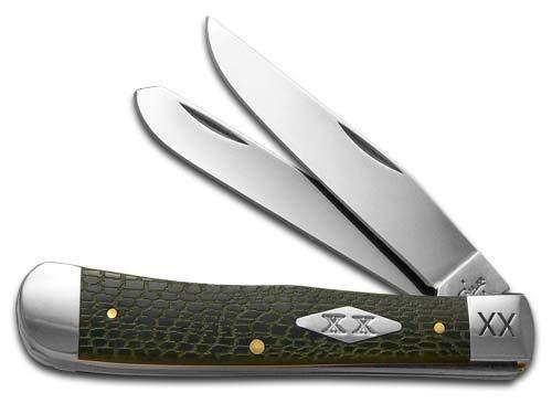 CASE XX Alligator Skin Olive Green Bone Trapper 1/500 Stainless Pocket Knife Knives