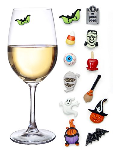 Halloween Wine Charms Set of 12 Magnetic Drink Markers & Tags for Stemless Glasses, Beer Mugs, Champagne Flutes and (Halloween Drink Name Ideas)