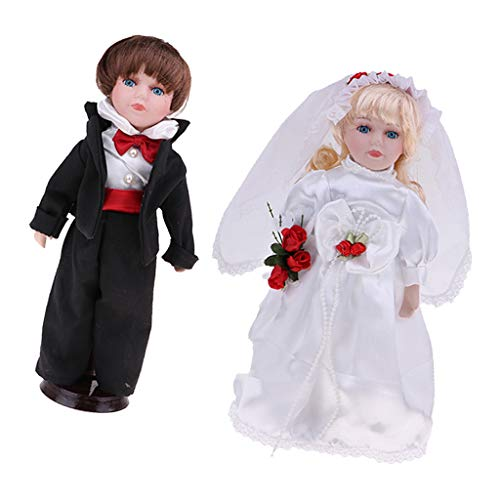 n Doll Handsome Bride & Groom Figures with Wooden Stand Kids Adult Collections ()