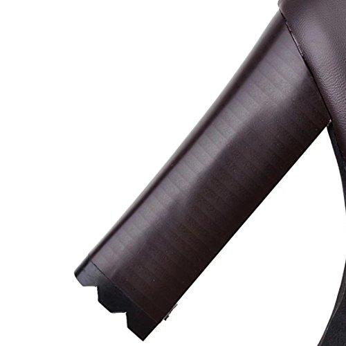 Aiyoumei Donna Moda Posteriore Cerniera Blocco Piattaforma Tacco Inverno Stivali Sopra Il Ginocchio Marrone