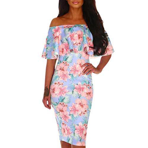 (Mysky Fashion Women Sexy Off Shouder Multi Floral Print Ruffle Prom Party Bodycon Dress Pink)