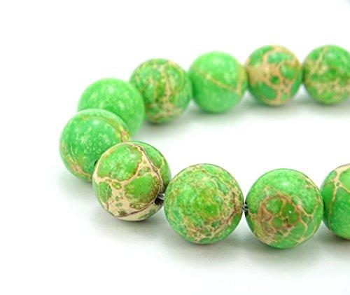 - jennysun2010 Natural Limegreen Sea Sediment Jasper Gemstone 10mm Smooth Round Loose 40pcs Beads 1 Strand for Bracelet Necklace Earrings Jewelry Making Crafts Design Healing