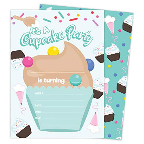 Cupcake Birthday Invites - Cupcake 1 Happy Birthday Invitations Invite Cards (25 Count) With Envelopes and Seal Stickers Vinyl Girls Boys Kids Party (25ct)