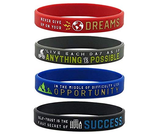 4 St/ück Silikon 11thGear Inspirational Armb/änder mit Motivationsspr/üchen Anything is Possible Success Dreams Opportunity