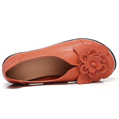 LINGTOM Casual Moccasin Shoes Women Flat Loafer Girls Slippers Slip-On For Driving Orange lc4XWjrZkv