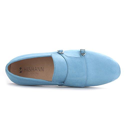 Hi & Hann Mannen Fluwelen Schoenen Met Fluwelen Hasp Casual Schoenen Britse Stijl Instappers Loafer Rokende Pantoffel Blauw
