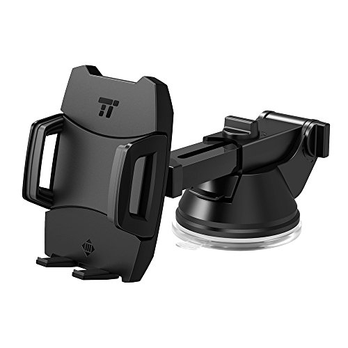 Phone Holder for Car, TaoTronics Car Phone Mount, Car Mount, Car Phone Holder with One-button Release (Flat Suction Cup, Improved Usability, for iPhone, Galaxy, Nexus, and Other Popular Smartphones)
