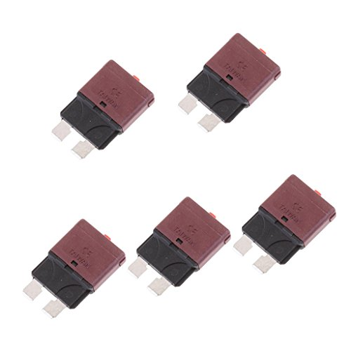MagiDeal 5 Pieces Universal 28V Auto Marine Resettable Mini Blade Fuse Circuit Breaker Blade 5A 7.5A 10A 15A 25A 30A - - Circuit Replace Breaker 15a