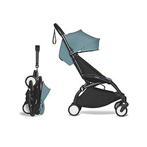 Babyzen-YOYO2-Stroller-Black-Frame-with-Aqua-Seat-Canopy