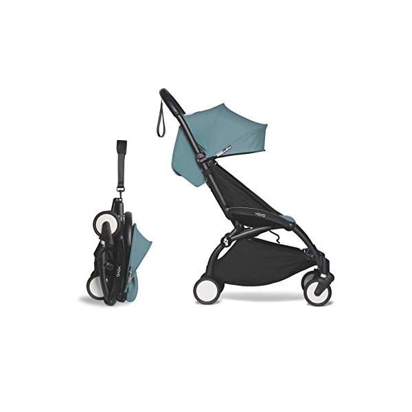Babyzen YOYO2 Stroller – Black Frame with Aqua Seat & Canopy