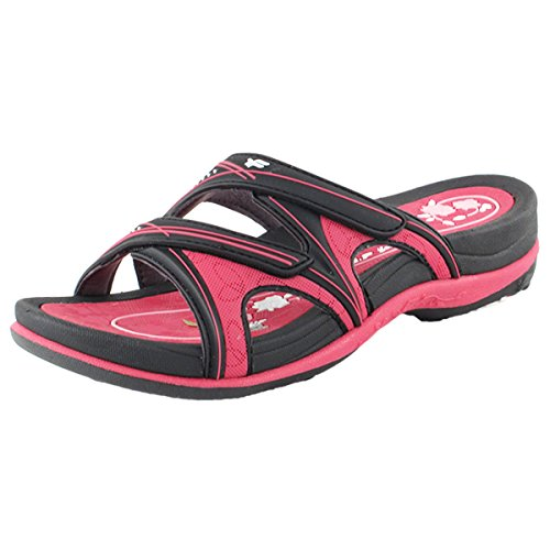 Gold Pigeon Shoes GP Slide Sandals for Women: 7534 Black Fuchsia, EU39 (US Size - Gold Feet