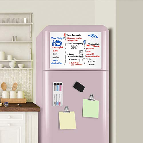 Magnetic-Dry-Erase-Whiteboard-Sheet for Fridge Stain Resistant Technology 17x12 Refrigerator White Board Organizer and Planner Includes 3 Markers,2 Clips,Pen Holder and Big Eraser with Magnets Photo #2