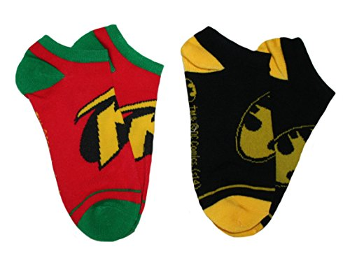 Batman & Robin Logo Adult No Show Ankle Socks 2-pair DC Comics (Batman And Robin Shoes)