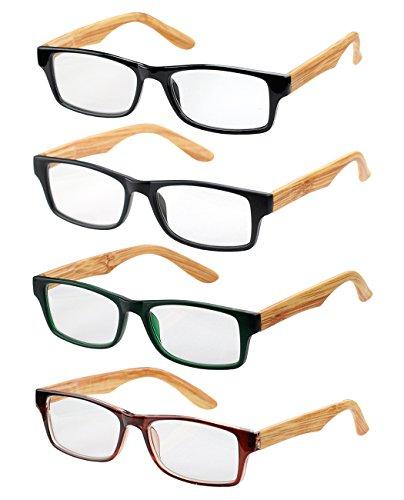 NYFASHION101 Wooden Designed Arms Rectangular Reading Glasses Set of 4, - Reading Wooden Glasses