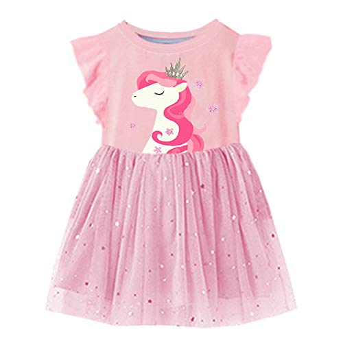 VIKITA 2018 Toddler Girls Dresses Princess Pony w/Crown Short Sleeve Girl Dress for Kids 3-8 Years Sh4543M, 8T -