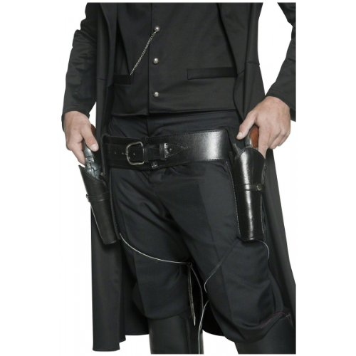 [Smiffy's Adult Unisex Holster Belt, 2 Holsters, Black, One Size, 36171] (Wild Man Costumes)