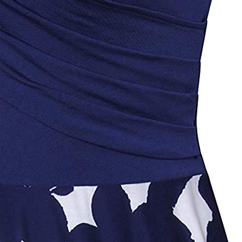 Scuro Estiva Vestito line Manica Semplice Da A Dress Blu Moda Corta Abiti Donna Elegante Stampato collo Vintage Floreale DonnaPolpo V Vacanza Pieghe b7y6fg