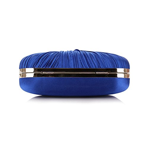 Pleated Evening Bag Clutch Handbag Crossbody Purse Women's JESSIEKERVIN Blue 05IxEwty