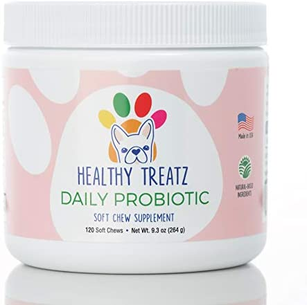 Healthy Treatz Probiotic Chews for Dogs – with Natural Digestive Supporting Enzymes for Relief of Diarrhea Upset Stomach Gas Constipation – Allergy Immune System Support