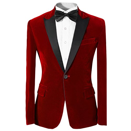 Men%27s+Notched+Lapel+One-Button+TUXEDO+Casual+Blazer+Suit+Slim+Fit+2-piece+Set%2C+Red%2C+3XL