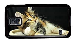 Hipster thinnest Samsung Galaxy S5 Case adorable kitty PC Black for Samsung S5