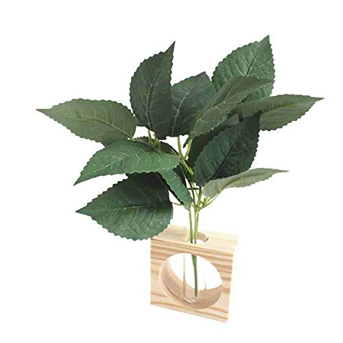 MSYOU Simulation Plant Simple Green Small Single Branch Trigeminal Silk Leaf Style Indoor And Outdoor Garden Office Home…