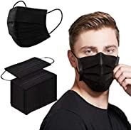 Face Mask 100PCS Adult Black Disposable Masks 3-Layer Filter Protection Breathable Dust Masks with Elastic Ear