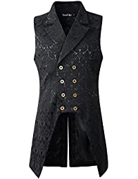 Mens Double Breasted Vest Waistcoat VTG Brocade Gothic Steampunk