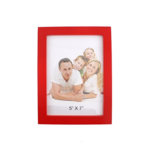 Simple Rectangular Wood Desktop Family Picture Photo Frame with Glass Front (Red,5x7)