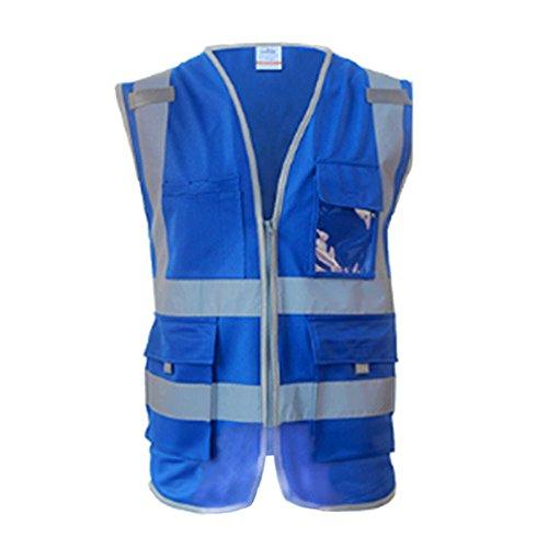Meijunter High Visibility Reflective Safe Vest Multi Pockets Workwear Security Waistcoat Color Blue ()