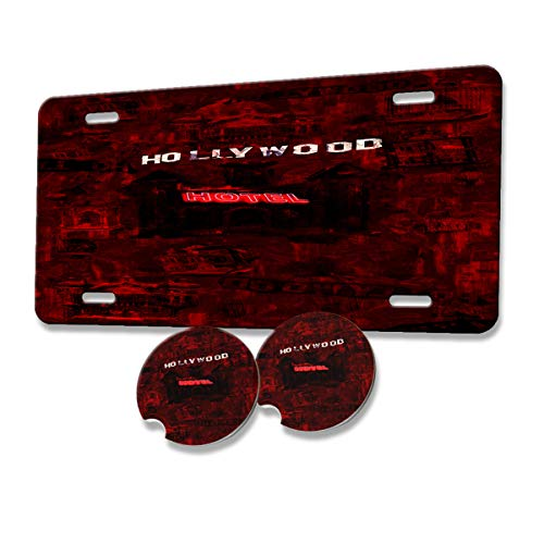New Vibe Hell Hollywood Hotel - Car Tag Vanity License Plate & Absorbent Stone Car Coaster Set (1 car tag & 2 car Coasters)