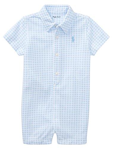 RALPH LAUREN Baby Boy Gingham Cotton Mesh Shortall Blue Hyacinth/White (12 (Baby Boy Gingham)