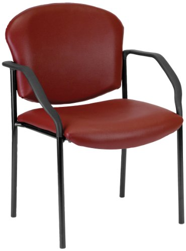 Wine Vinyl Armless Reception Chair - OFM Manor Series Deluxe Vinyl Stacking Guest Chair, Wine