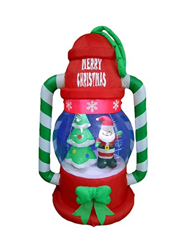 6 Foot Tall Christmas Inflatable Lantern with Santa Tree and LED Yard Decoration