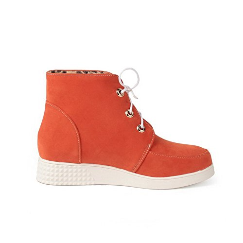Lace Boots Low Solid Imitated Heels Suede Low Top Orange Womens up AmoonyFashion ABqt5xvw