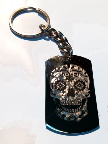 Novelty Candy Sugar Skull Tattoo Logo - Metal Ring Key Chain Keychain]()