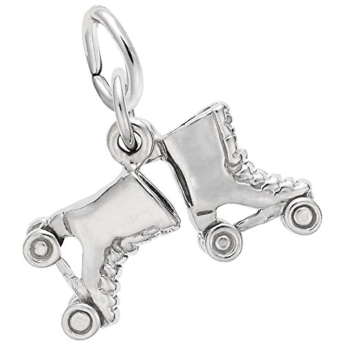 Skate 14k Gold Charm - Roller Skates Charm In 14k White Gold, Charms for Bracelets and Necklaces