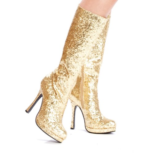 4 Inch Glitter Go Go Boots Platform Chunky Heel Sexy Glamour Boots Size: 8 Colors: Gold