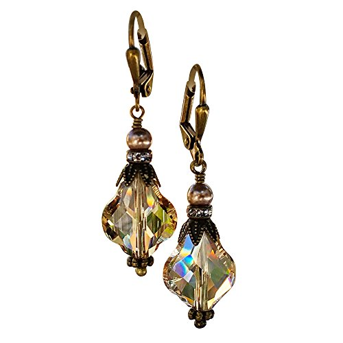HisJewelsCreations Baroque Vintage Inspired Leverback Drop Dangle Womens Earrings with Crystal from Swarovski