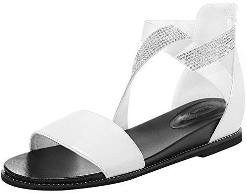 Passionow Women's Beautiful Rhinestone Ankle Strap Back Zipper Open Toe Flat Sandal Shoes (7.5 B(M)US,White)